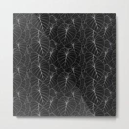 blackwork philodendron leaves Metal Print