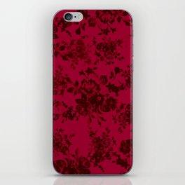 Vintage black gray red bohemian floral pattern iPhone Skin