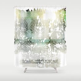 Fractured Silver Shower Curtain