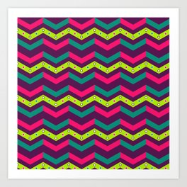 Berry Geo Chevron Art Print