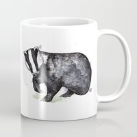 badger Mugs featuring Badger by ZOO (William Redgrove)