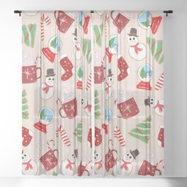 Festive Red Christmas Cookie Illustration Pattern Sheer Curtain