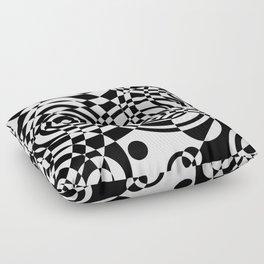 Raindrops 2 Black and White Geometric Painting Floor Pillow