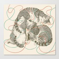 cats Canvas Prints featuring cats by Laura Graves