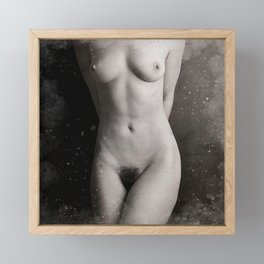 Naked  Woman Watercolor Framed Mini Art Print