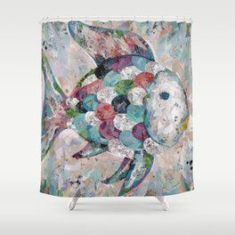 Rainbow Fish Collage Shower Curtain