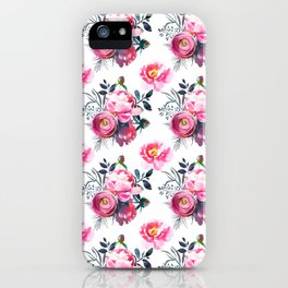 Hand painted blush pink gray yellow watercolor roses pattern iPhone Case
