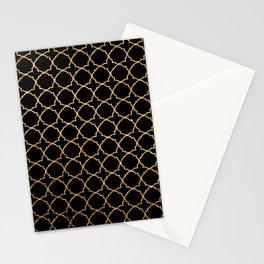 Elegant black faux gold glitter chic quatrefoil vector illustration Stationery Cards