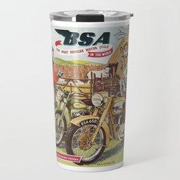 Vintage British BSA Motorcycle Advert Travel Mug