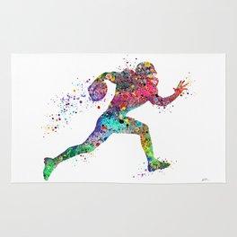 Football Player Sports Art Print Watercolor Print American Football Rug