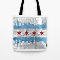 chicago map Tote Bags featuring Chicago Map  by Kasi Turpin