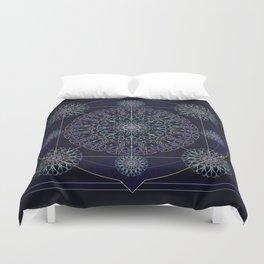 Neon Geometry in Blue Mandala Duvet Cover