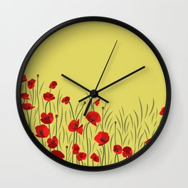 Spring poppies Wall Clock