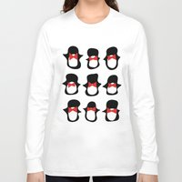penguins Long Sleeve T-shirts featuring Penguins by Flash Goat Industries