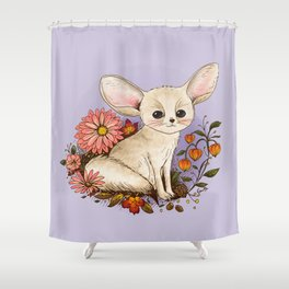 Fennec Fox with Chinese Lanterns Shower Curtain