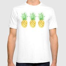 Pineapple Trio MEDIUM White Mens Fitted Tee