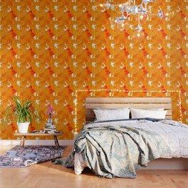 Fall Orange Maple Leaves On A White Background #decor #buyart #society6 Wallpaper