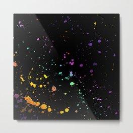 Rainbow Splatter on Black Metal Print