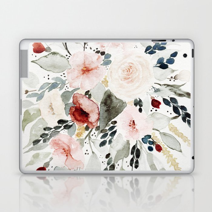 Loose Watercolor Bouquet Laptop & iPad Skin