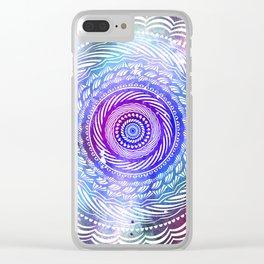 Modern Mandala Spiral Galaxy Space Textured Multi Colored / Purple Pink Orange Gray Black Clear iPhone Case