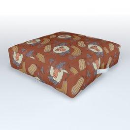 Macaques & Squash (rust) Outdoor Floor Cushion