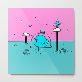 Happy Space Bird Metal Print