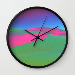 Psychedelic Sand Dunes - Pink Green Blue Wall Clock