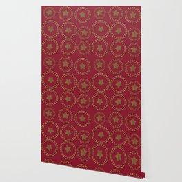 Burgundy & Gold Star Pattern Wallpaper