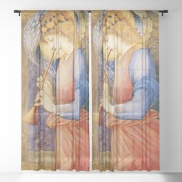 Angel Gabriel Antique Spiritual art Sheer Curtain