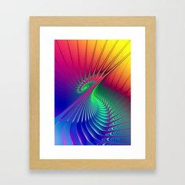 Outburst Spiral Fractal neon colored Framed Art Print