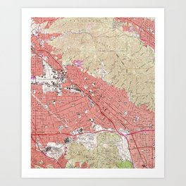 Vintage Map of Burbank California (1966) Art Print