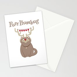 Purr Humbug. Not-So-Festive Cat. Stationery Cards