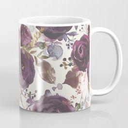 Pastel burgundy violet pink watercolor roses floral Coffee Mug
