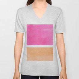 Colorful Bright Minimalist Rothko Pastel Pink Peach Midcentury Modern Art Vintage Pop Art Unisex V-Neck