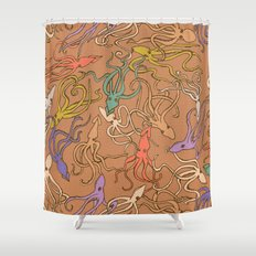 Squids of the inky ocean - retro colorway Shower Curtain