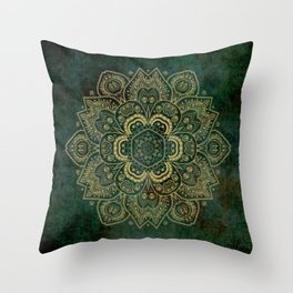 Golden Flower Mandala on Dark Green Throw Pillow