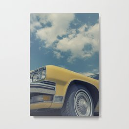 Vintage Yellow Car Metal Print