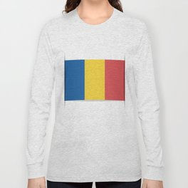 Flag of Chad, officially the Republic of Chad.  The slit in the paper with shadows. Long Sleeve T-shirt
