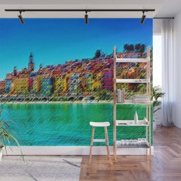 Menton, South of France Landscape Painting by Jeanpaul Ferro Wall Mural