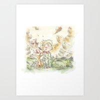 le petit prince Art Prints featuring Le petit prince by Lionel Hotz