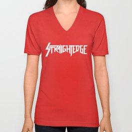 Straight Edge Metal Logo Unisex V-Neck