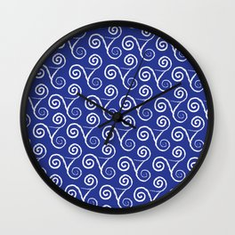 WHITE LACE TRISKELION ON NAVY Wall Clock