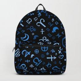 Astrological symbols glyphs blues on black Backpack
