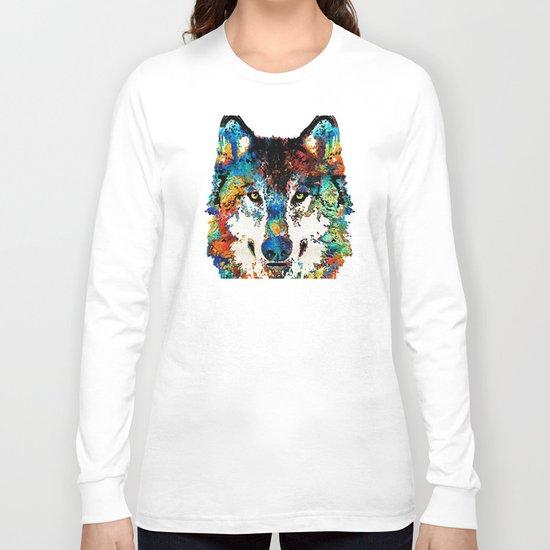 Wolf Art Print - Hungry - By Sharon Cummings Long Sleeve T-shirt