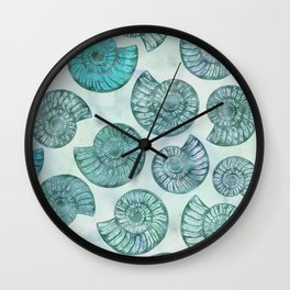 Shimmering Underwater Shell Scenery Aqua Colors Wall Clock