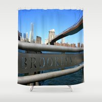 brooklyn Shower Curtains featuring Brooklyn by Gold Street Photography