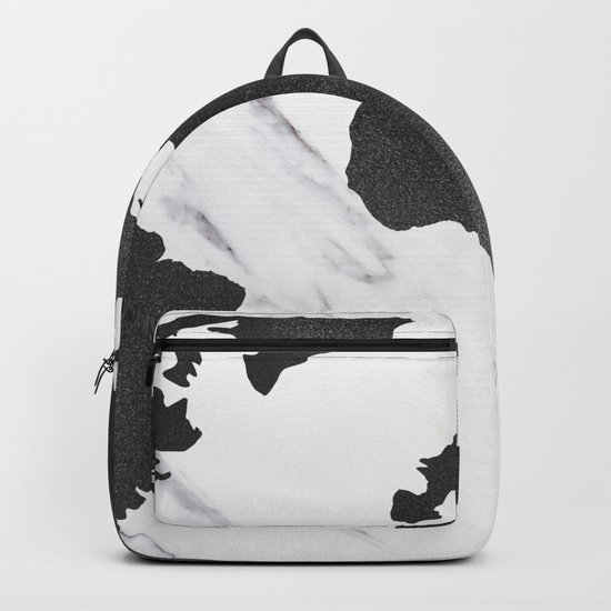 Marble World Map Black and White Backpack