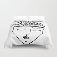 mask Duvet Covers featuring Mask by Leandra Lilly Dreyer