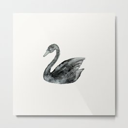 Elegant black white hand painted watercolor swan  Metal Print