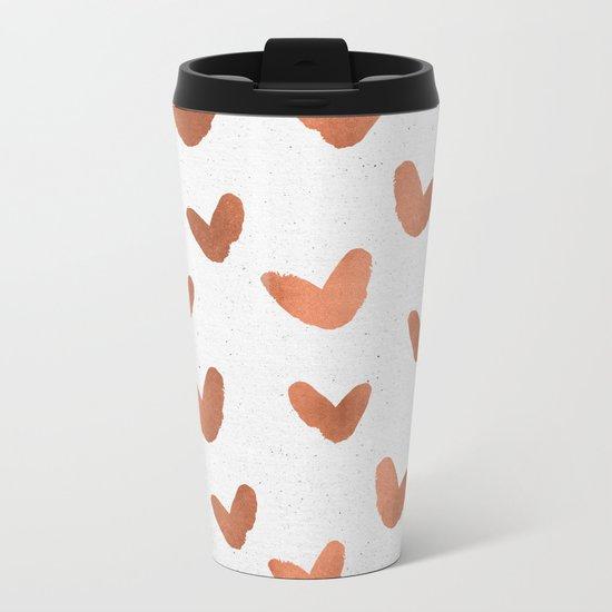 Rose Gold Pink Hearts on Paper Metal Travel Mug